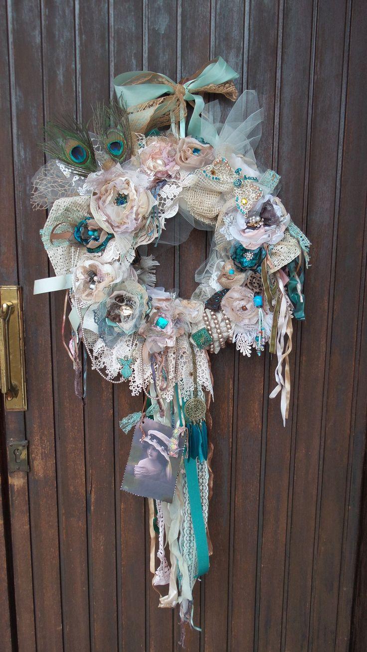 Turquoise wreath, teal wreath, Peacock, farmhouse wreath