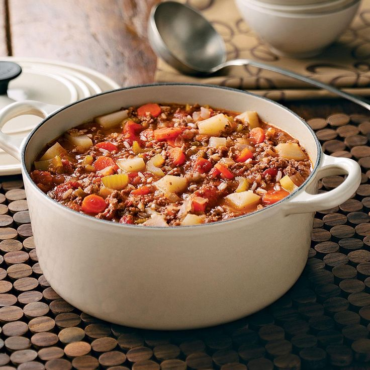Favorite Hamburger Stew Recipe -I got this recipe from a woman at our church, Lois Henry, when I needed a way to use up our bounty of home-canned tomatoes. My husband loves it, and I like that it's easy to warm up for a carefree dinner in the winter months. —Marcia Clay, Truman, Minnesota