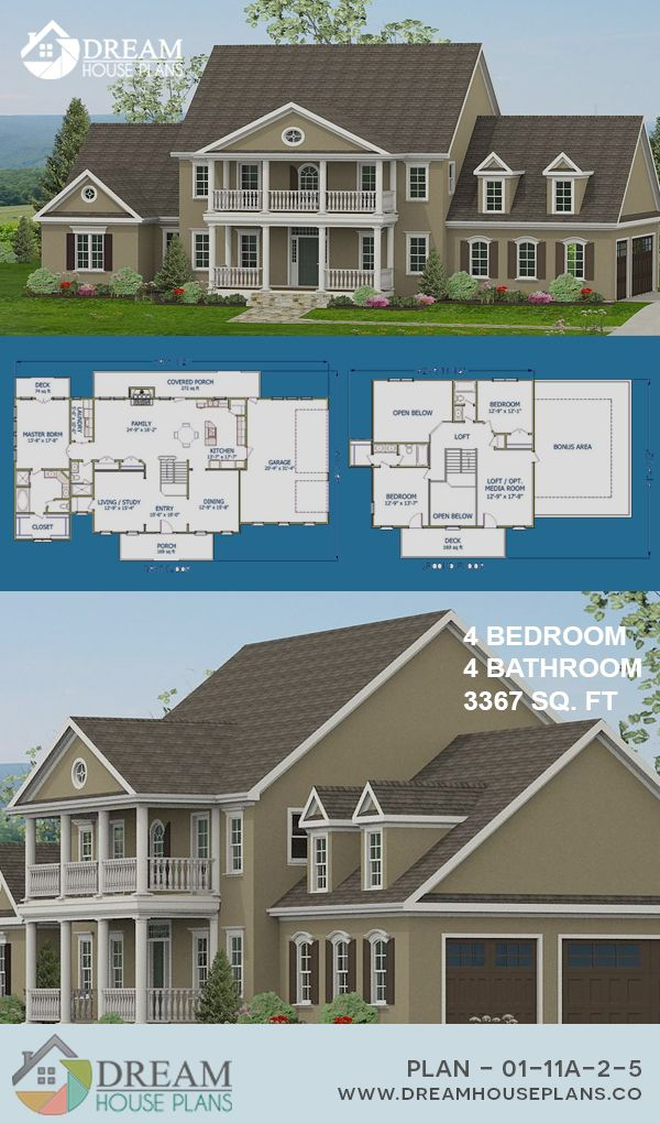 Dream House Plans Best Craftsman 4 Bedroom, 3367 Sq Ft Home Plan