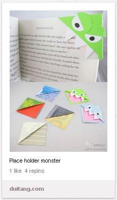 Monster book mark idea.