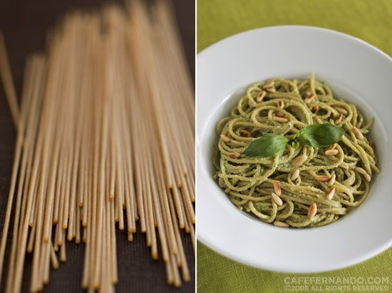 Whole Wheat Spaghetti with Almond Pesto Sauce 2