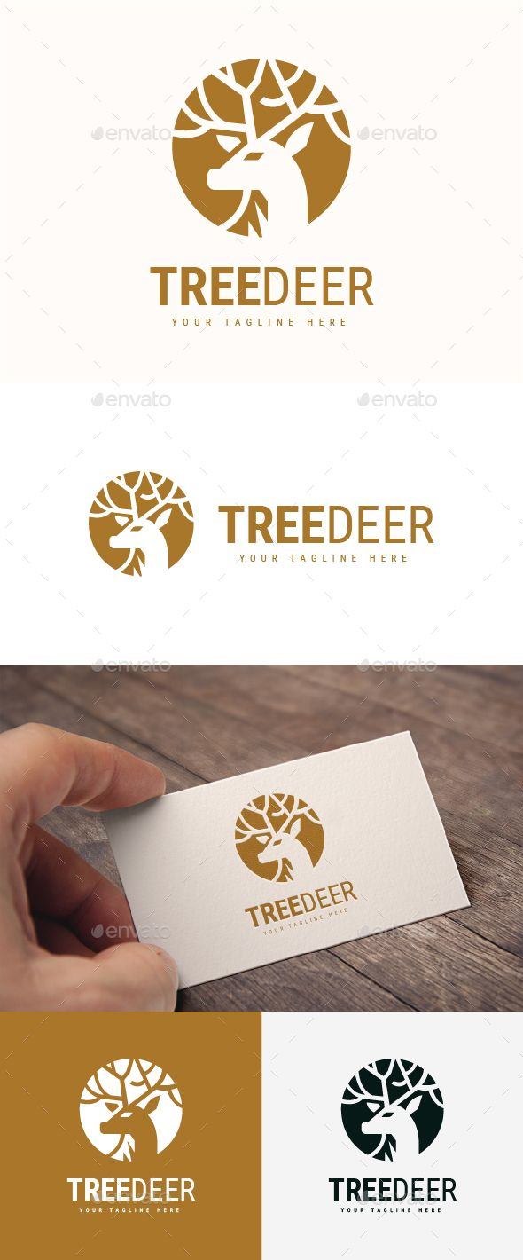 Tree Deer #Logo - #Animals Logo #Templates Download here: https://graphicriver.net/item/tree-deer-logo/20174960?ref=alena994