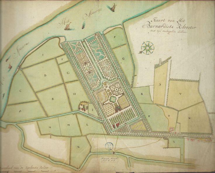 18e eeuwse kaart metgeometrische parkaanleg van 't Klooster door Dirk van Klinkenberg