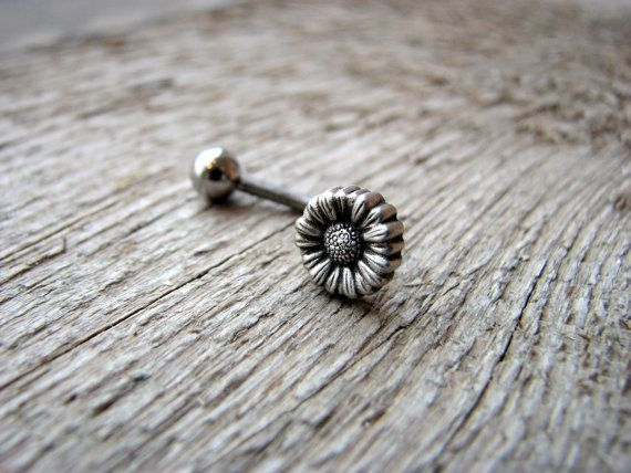 zip around mens wallet Daisy flower jewelry belly button ring by AnnaSiivonen on Etsy