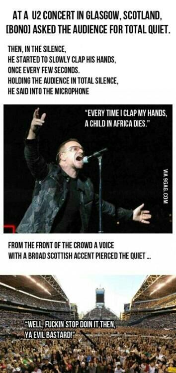 If Frankie Boyle ever went to a U2 concert...