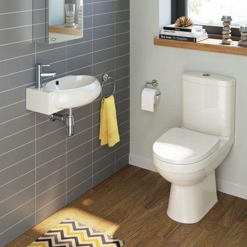 Sabrosa Toilet & Naro Basin Cloakroom Set - Right Hand [PT-BS914] - £199.99 : Platinum Taps & Bathrooms