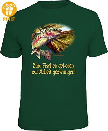 Original RAHMENLOS T-Shirt für Angler und Fischer: Zum Fischen geboren, zur Arbeit gezwungen. Größe L, Nr.6882 - T-Shirts mit Spruch | Lustige und coole T-Shirts | Funny T-Shirts (*Partner-Link)