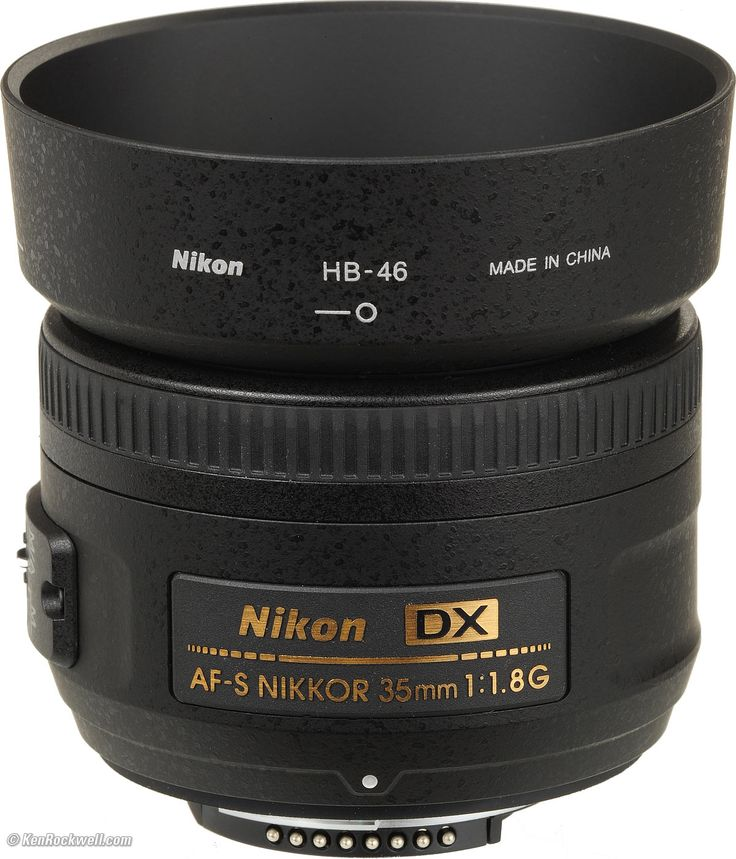 Nikon 35mm f/1.8 with HB-46 hood.  Next lens to buy