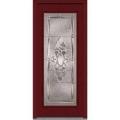 Heirloom Master Right Hand Full Lite Classic Stained Fiberglass Mahogany Prehung  Front Door, Windsor Cherry