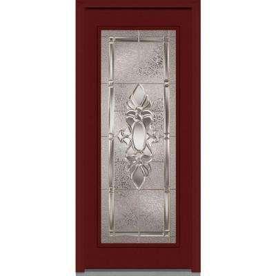 Heirloom Master Right Hand Full Lite Classic Stained Fiberglass Mahogany Prehung  Front Door, Windsor Cherry