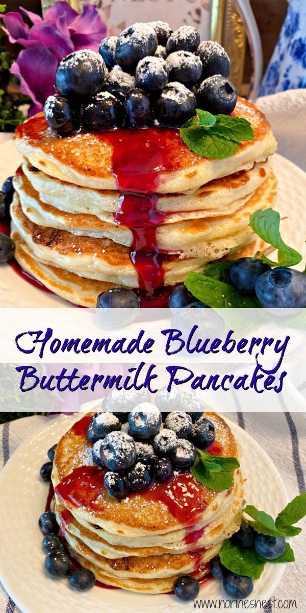 Homemade Blueberry Buttermilk Pancakes Norine S Nest Recipe In 2020 Food Blueberry Buttermilk Pancakes Buttermilk Pancakes