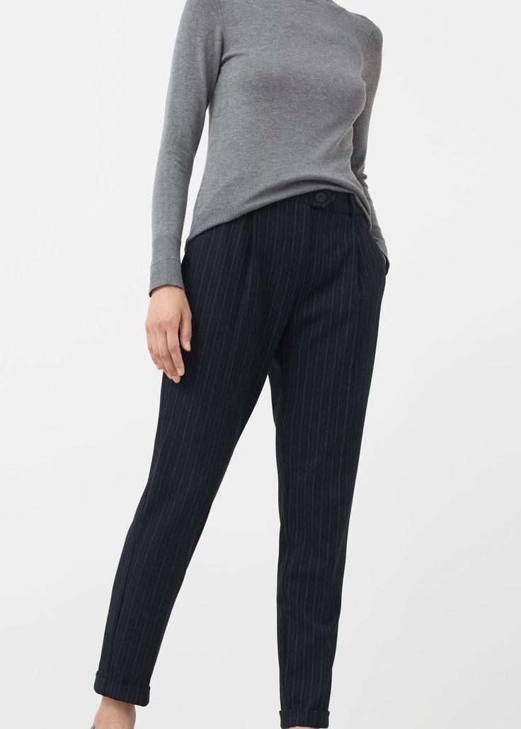 Полосатые брюки - Брюки  - Женская | MANGO МАНГО Россия (Российская Федерация)