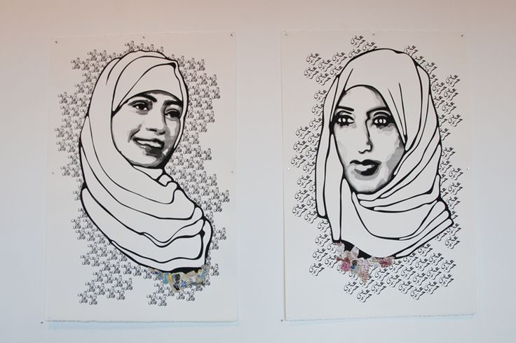 Samar Badawi, the first Saudi female to file suit against the Saudi government and win, and Manal Al-Sharif, who inspired Saudi women to challenge the law and drive. Art by Saffaa?