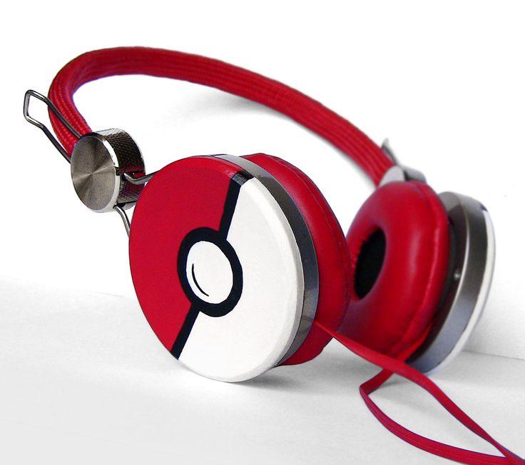 Poke-phones Headphones earphones red hand painted PRE-ORDER. €44,00, via Etsy.