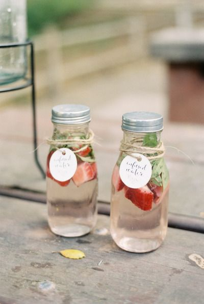 Strawberry mint water: http://www.stylemepretty.com/living/2015/07/08/organic-countryside-garden-first-birthday-party/ | Photography: Khanh Hogland - http://khanhhogland.com/