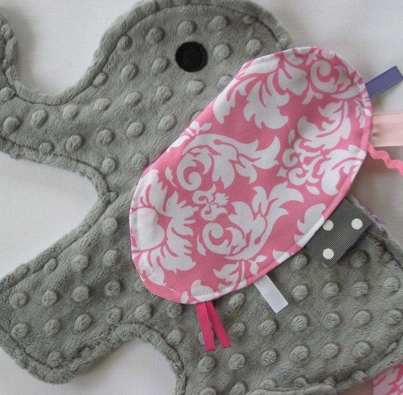 MADE TO ORDER Chloe Pink Damask Elephant Sensory Security Lovey