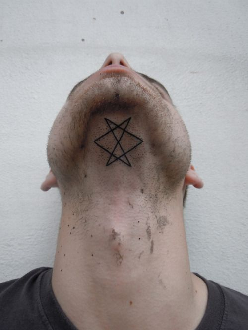 geometric tattoo underneath the chinOccult Tattoo, Pattern Tattoo, Tattoo Pattern, Small Tattoo, Neck Tattoo, A Tattoo, Geometric Tattoo, Tattoo Ink, Cool Tattoo