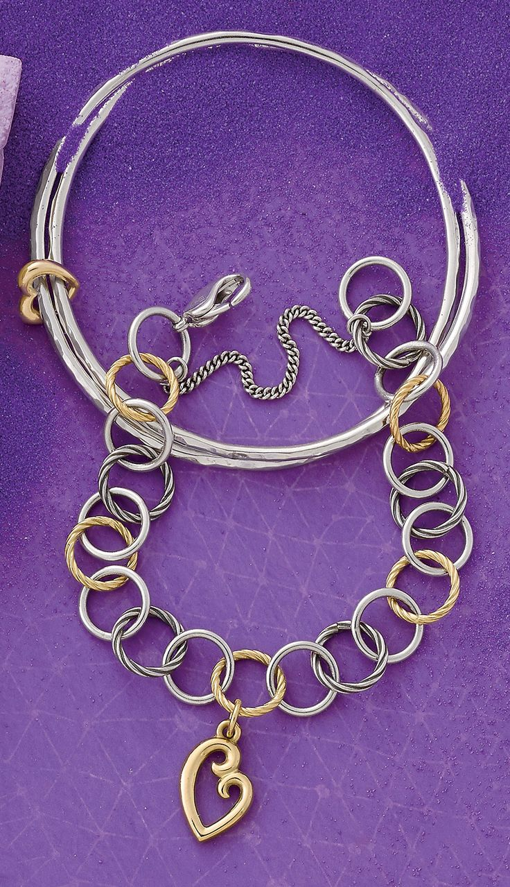 Summer Collection - Heart of Gold Combo Bangle Bracelet, Gold & Silver Loops Bracelet shown with Mother's Love Charm (small) #JamesAvery