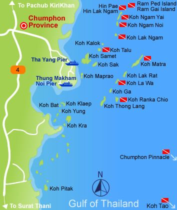 Chumphon Dive Site Map | Dive sites maps | Pinterest ...