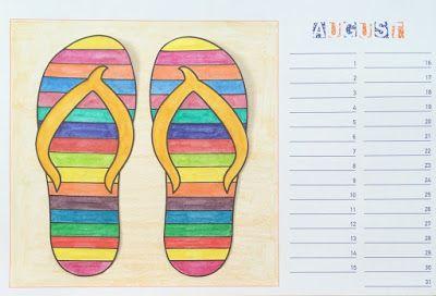 Bunte B Der kunst in der grundschule bastelkalender august bunte flip flops im sand summer