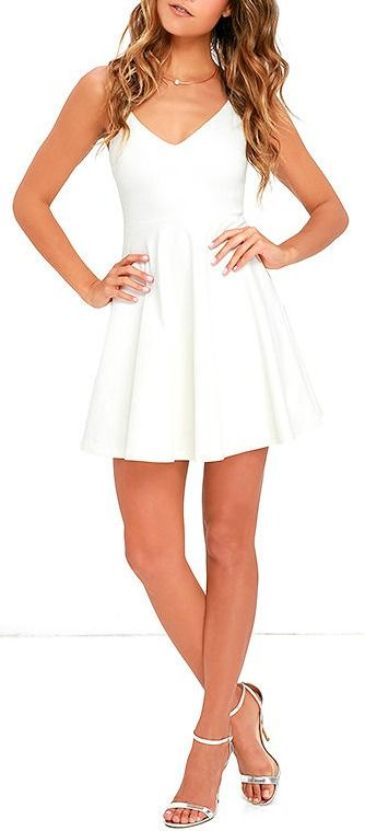 Your future love will never know what hit 'em when you stroll by in the Meet Cute White Skater Dress! Medium-weight stretch knit shapes a darted bodice with a V neckline, supported by skinny straps. Flaring, mini-length skirt. #lovelulus