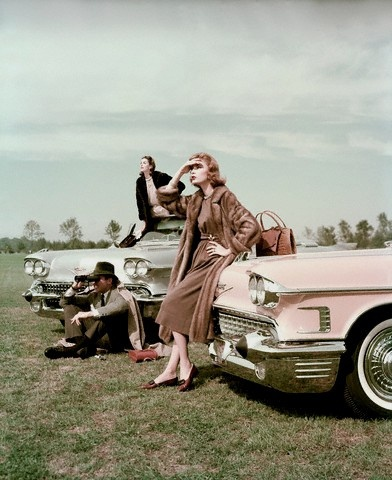 1950s cars and fashion--Cadillac and Coats. A sign of the times.