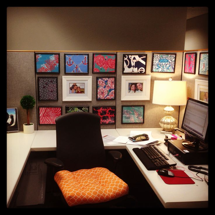 Cubicle decor with Dollar Tree frames and printed Lilly Pulitzer patterns. Total cost: $22