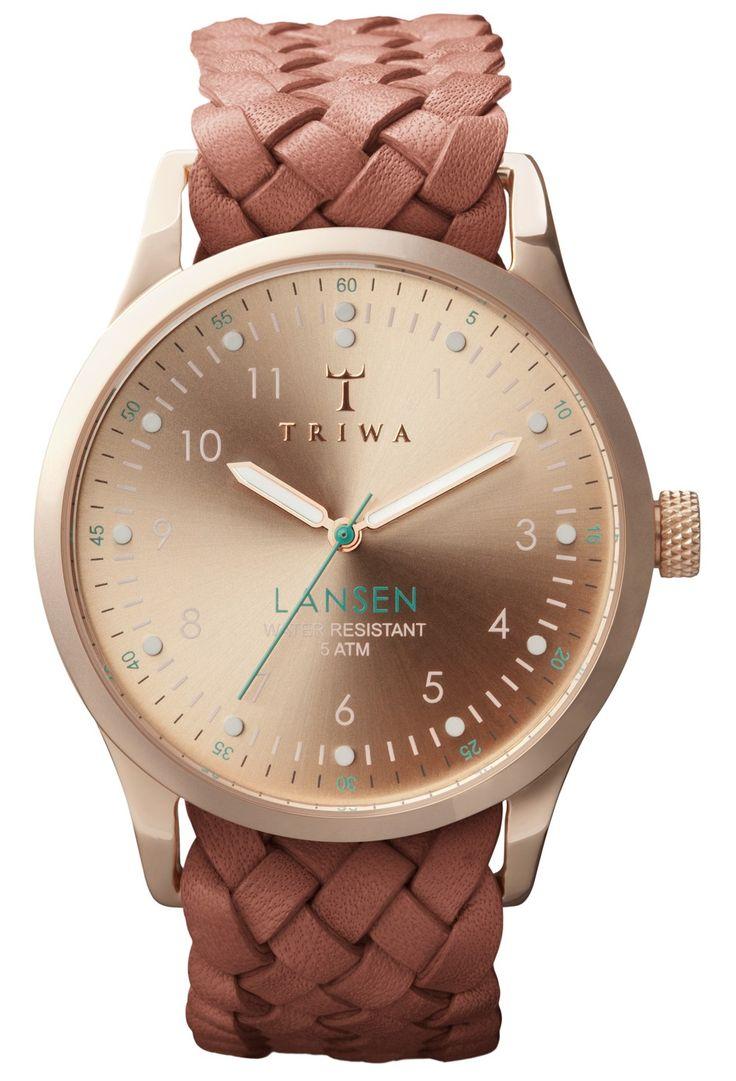 Ur med rosegold urkasse og flettet brun læderrem - Triwa Rose Lansen LAST101