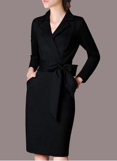 Cotton Solid Long Sleeve Knee-Length Elegant Dresses (1019188) @ floryday.com