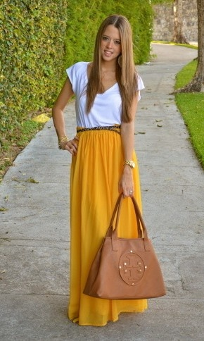 perfect for summer: Yellow Maxi Skirts, Summer Looks, Color, Outfit, Yellow Skirts, Tory Burch, Long Skirts, T Shirts, Mustard Yellow