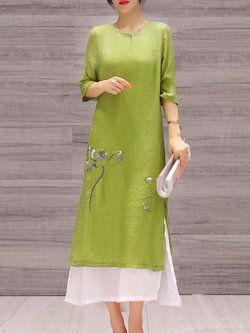 Elegant Printed Half Sleeve Cotton Midi Dress