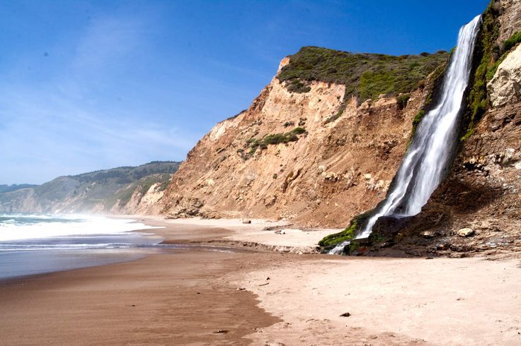 """Alamere Falls Point Reyes Oh this? It's just a waterfall. THAT FLOWS DIRECTLY INTO THE OCEAN. A rare """"tidefall,"""" it's found by following the Coast Trail from the Palomarin Trailhead on a 8.5-mile round-trip hike. Pro tip: stop at Bass Lake along the way if you're into rope swings. (Editor's Note: You're into rope swings.)"""