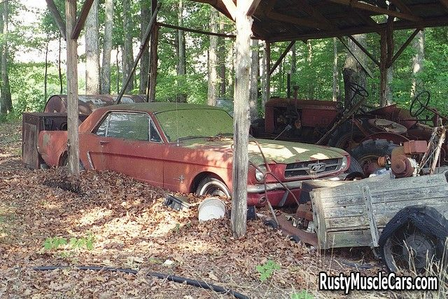 1965 ford mustang - on the farm - Rusty muscle car photos and project muscle cars for sale at RustyMuscleCars.com