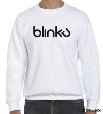 Sudadera para hombre : Color white, diseño Blinku 4 serigrafiado en tinta color black