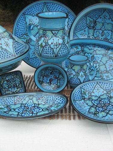 Painted ceramic dishes.  Istanbul, Turkey.  Iznik.  Turquoise.