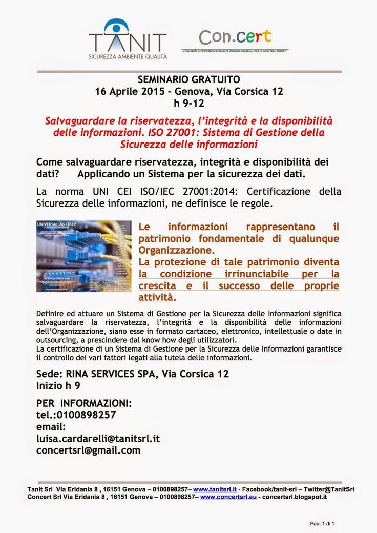 Concert tutto su ambiente sicurezza energia:  SEMINARIO GRATUITO 16 Aprile 2015 - Genova, Via C...