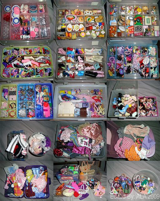 Barbie accessories organization -2 girls and goodness do we have a lot of Barbie and her accessories!!