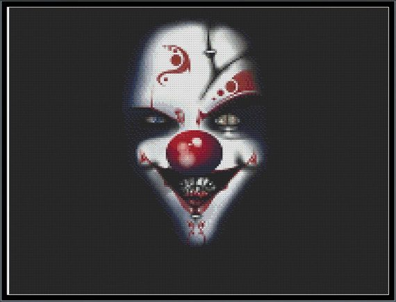 Evil Clown Cross Stitch Pattern: