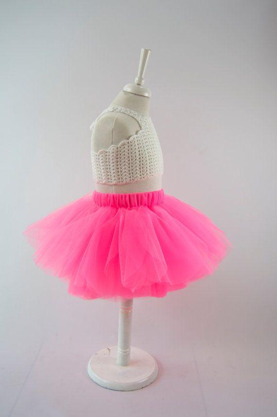 Listo para enviar. Tamaño 1/2 años. Falda del tutú rosa neón
