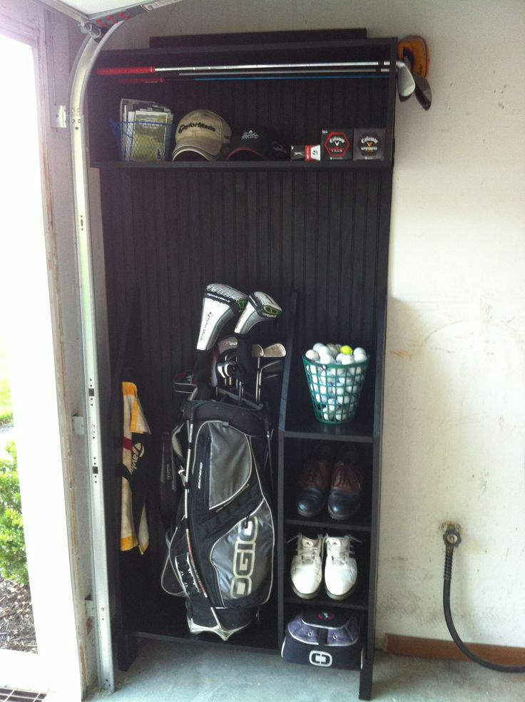 Custom Made golf locker in my garage. Made mostly from scrap materials laying around the garage.