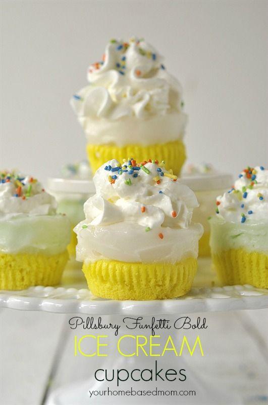 Bold Ice Cream Cupcakes: Food Recipes, Food Cakes Cupcakes Frostings, Cupcakerecip Food, Pillsbury Funfetti, Birthday Treats, Bold Ice, Ice Cream Cupcakes, Funfetti Bold, Cupcakeidea Cupcakerecip