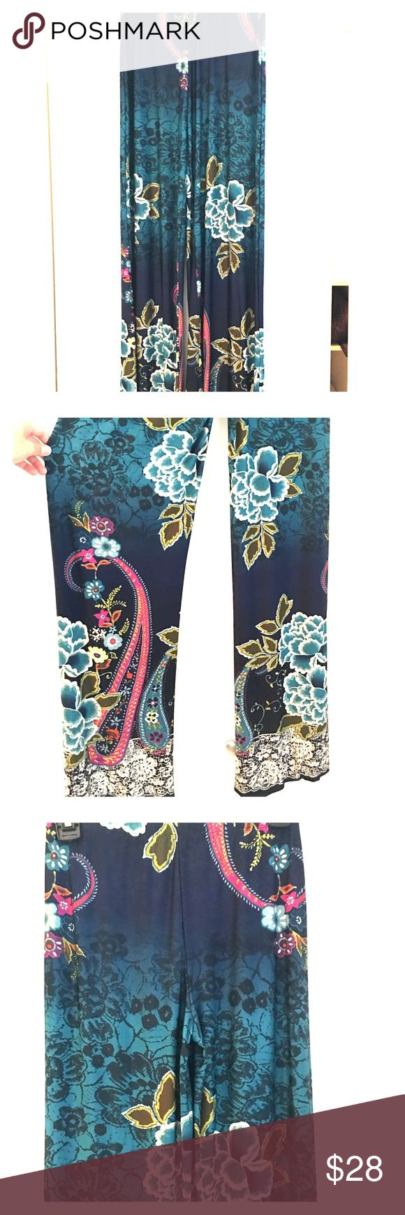 Wide Leg Palazzo Pants! Wide leg Palazzo pants with floral design. Elastic waistband. Great condition. Will Ship Fast! No Trades Please! Reasonable Offers Accepted! 👍🏻 Pants Wide Leg