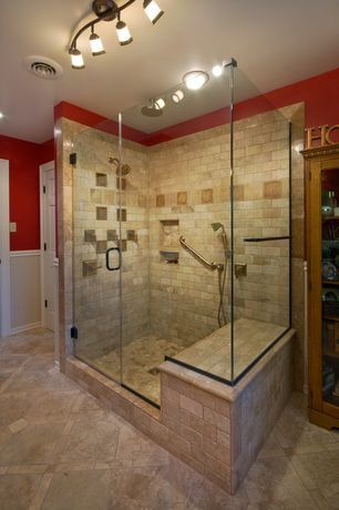 Craftsman Master Bathroom With Handheld Shower Head, Frameless Showerdoor,  Wainscoting, Master Bathroom,
