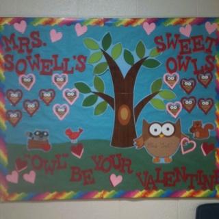 Valentine owl bulletin board