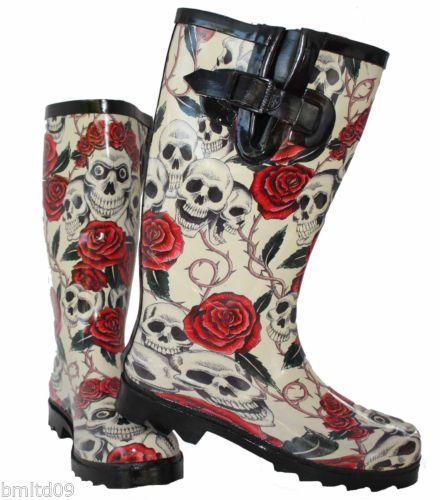 Ladies New Skull Roses Wellington Wellies Goth Flat Black Red Boots Rain Snow | eBay