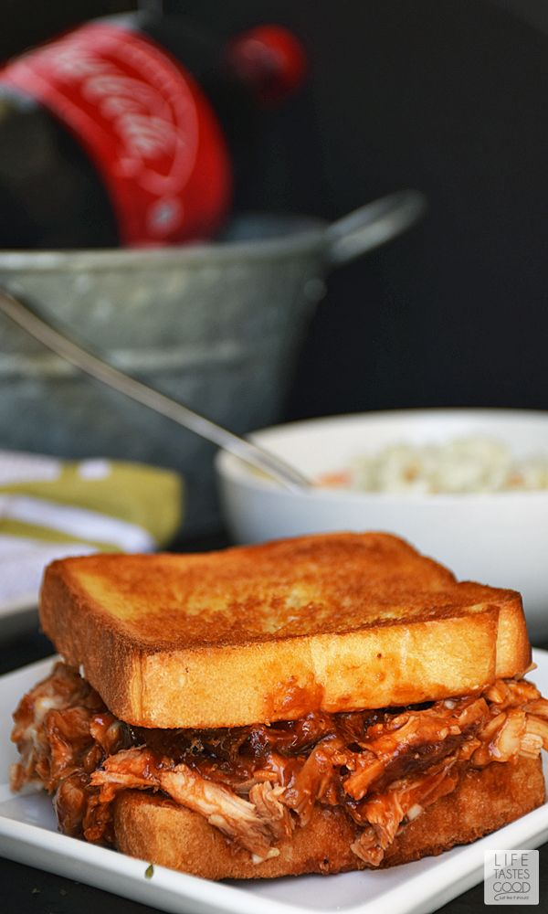 Barbecued Chicken on Garlic Toast | by Life Tastes good | Crisp buttered garlic toast topped with tangy barbecued pulled chicken is a big sandwich so thick you have to open your mouth extra wide to get that first scrumptious bite! #LTGRecipes #EffortlessMeals #ad