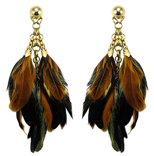 "Jewellery by Karen brass filigree and feather ""shoulder duster"" earrings.  http://jewellerybykaren.com/boutique/earrings/earrings-1008e"