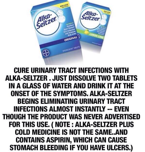 Amazing!!! Cure urinary tract infections with alka seltzers