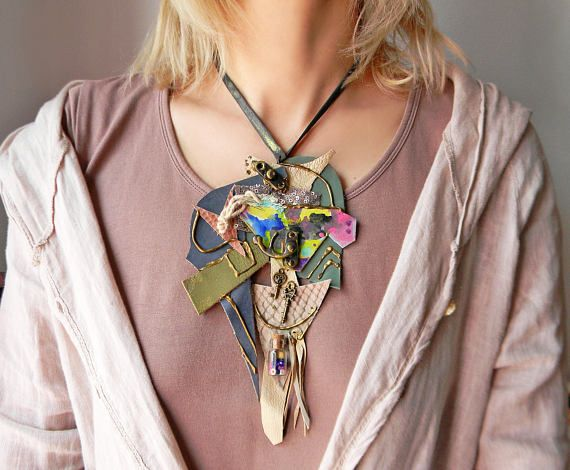 Leather contemporary bib necklace with painted paper and key