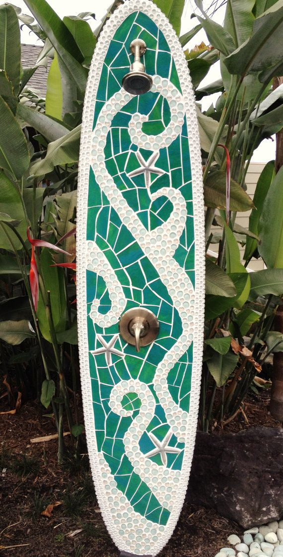 Longboard outdoor surfboard shower with glass by TropicalArtist.